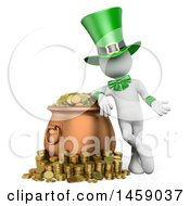 Poster, Art Print Of 3d White Man Leprechaun With A Pot Of Gold On A White Background