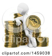 Clipart Of A 3d White Man With Stacks Of Bitcoins On A White Background Royalty Free Illustration