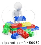 3d White Man Stacking Legos On A White Background