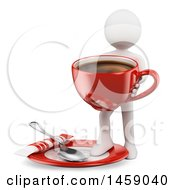 Clipart Of A 3d White Man Holding A Giant Coffee Cup On A White Background Royalty Free Illustration