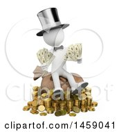 Poster, Art Print Of 3d White Man With Lots Of Money On A White Background