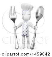 Clipart Of A 3d White Man Chef Holding Silverware On A White Background Royalty Free Illustration