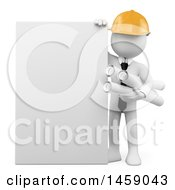 Clipart Of A 3d White Man Architect With A Blank Sign On A White Background Royalty Free Illustration