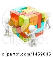 3d Team Of White Men Building A Cube On A White Background