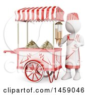 Clipart Of A 3d White Man Selling Ice Cream On A White Background Royalty Free Illustration