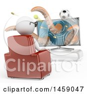 Clipart Of A 3d White Man Watching A 3d Movie On A White Background Royalty Free Illustration by Texelart