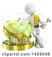 3d White Man With A Dumbbell Measuring Tape And Giant Apple On A White Background