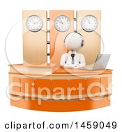 Clipart Of A 3d White Man Receptionist Working At A Desk On A White Background Royalty Free Illustration
