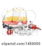 Clipart Of A 3d White Man Emt Helping A Motorcyclist After An Accident On A White Background Royalty Free Illustration