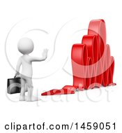 Clipart Of A 3d White Business Man Changing The Course Of An Arrow On A White Background Royalty Free Illustration