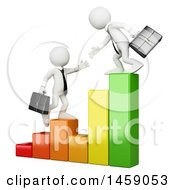 Clipart Of 3d White Business Men Heaping Each Other Climb A Bar Graph On A White Background Royalty Free Illustration
