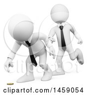 3d White Business Man Tricking A Colleague And Sneaking Up Behind Him On A White Background