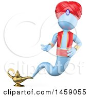 Clipart Of A 3d Genie Emerging From A Lamp On A White Background Royalty Free Illustration