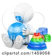 Poster, Art Print Of 3d 3d White Baby Playing With A Ball Cubes And Color Tower On A White Background
