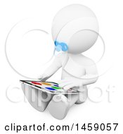 Poster, Art Print Of 3d White Baby Playing With A Tablet On A White Background