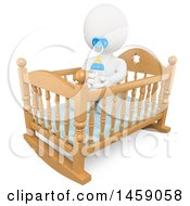 Poster, Art Print Of 3d White Baby With A Bottle In A Crib On A White Background