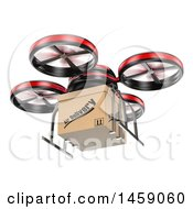 Poster, Art Print Of 3d Delivery Drone On A White Background