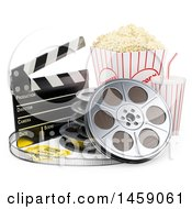 Clipart Of A 3d Movie Popcorn Bucket And Soda With Film And A Clapper On A White Background Royalty Free Illustration