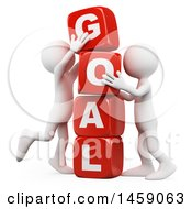 Clipart Of 3d White Men Stacking Goal Blocks On A White Background Royalty Free Illustration