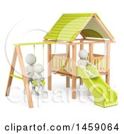 Clipart Of A 3d White Family On A Playground On A White Background Royalty Free Illustration