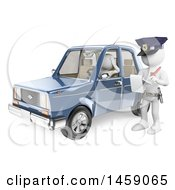 Clipart Of A 3d White Man Getting A Traffic Ticket On A White Background Royalty Free Illustration