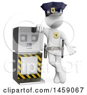Poster, Art Print Of 3d White Man Police Officer By A Radar Machine On A White Background