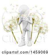 3d White Man Sneezing By Dandelions On A White Background