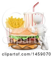 3d White Man With A Cheeseburger French Fries And Soda On A White Background