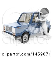 Clipart Of A 3d White Man Breaking Into A Car On A White Background Royalty Free Illustration