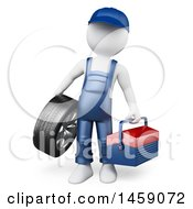 Poster, Art Print Of 3d White Man Mechanic With A Tool Box And Tire On A White Background
