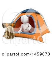 3d White Man Camping On A White Background