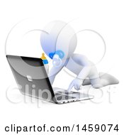 Poster, Art Print Of 3d White Baby Using A Laptop On A White Background