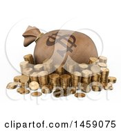 Clipart Of A 3d Money Bag And Stacked Coins On A White Background Royalty Free Illustration