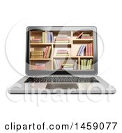Clipart Of A 3d Laptop With Library Book Shelves On Screen On A White Background Royalty Free Illustration by Texelart