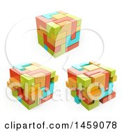 Poster, Art Print Of 3d Cubes On A White Background