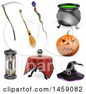 Poster, Art Print Of 3d Halloween Items On A White Background