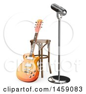 Clipart Of A 3d Guitar And Microphone On Stage On A White Background Royalty Free Illustration