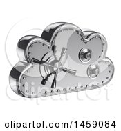 Clipart Of A 3d Cloud Shaped Safe On A White Background Royalty Free Illustration