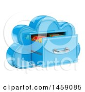Clipart Of A 3d Cloud Shaped Filing Cabinet On A White Background Royalty Free Illustration