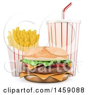 Clipart Of A 3d Cheeseburger With Fries And A Soda On A White Background Royalty Free Illustration