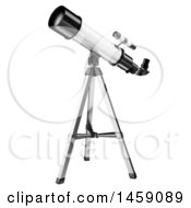 Clipart Of A 3d Telescope On A Tripod On A White Background Royalty Free Illustration