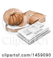 Clipart Of A 3d Newspaper With A Hat And Briefcase On A White Background Royalty Free Illustration