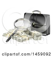 Clipart Of A 3d Briefcase With A Magnifying Glass And Cash On A White Background Royalty Free Illustration