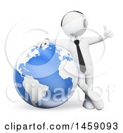 Clipart Of A 3d White Business Man Wearing A Headset Giving A Thumb Up And Leaning On A Globe On A White Background Royalty Free Illustration
