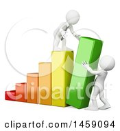 Clipart Of 3d White Business Men Pushing Up A Bar On A Graph On A White Background Royalty Free Illustration