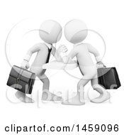 Clipart Of 3d White Business Men Engaged In An Arm Wrestling Match On A White Background Royalty Free Illustration