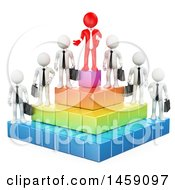 Clipart Of A 3d Red Business Man On Top Of A Pyramid With Employees On A White Background Royalty Free Illustration