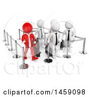 Clipart Of A 3d Red Business Man Walking Through A Short Line While White Men Wait In A Long Line On A White Background Royalty Free Illustration