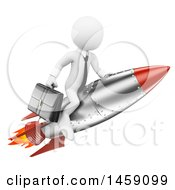 Clipart Of A 3d White Business Man Flying On A Rocket On A White Background Royalty Free Illustration