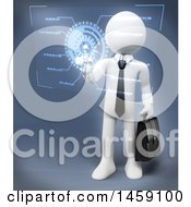 Clipart Of A 3d White Business Man Using A Virtual Interface On A White Background Royalty Free Illustration